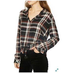 Sanctuary Plaid Button-down Black Cotton Shirt XL